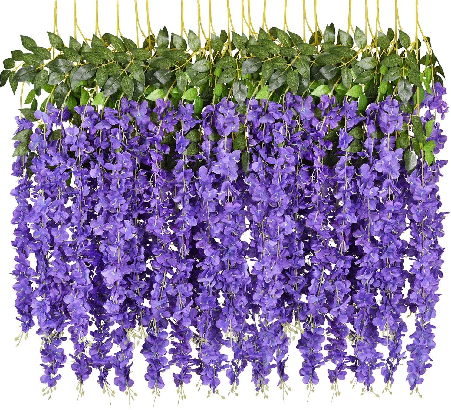 6 Pack 3.75 Feet/Piece Artificial Fake Wisteria Vine Ratta Hanging Garland Silk Flowers String Home Party Wedding Decor (Purple)