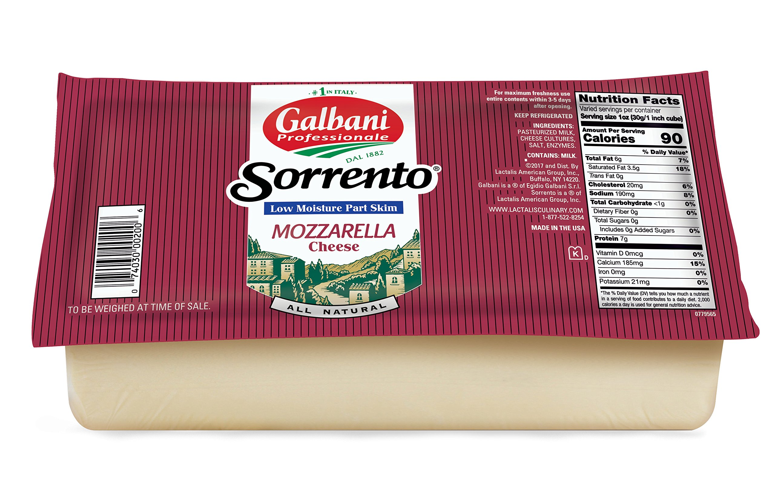 Galbani Low Moisture Part Skim Mozzarella Cheese Block 5 lb--Pack of 8