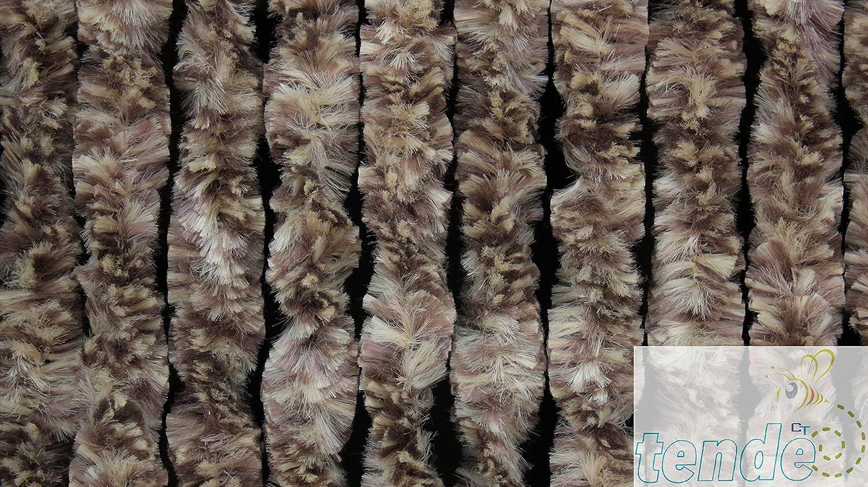 TENDA PER INTERNI O MOSCHIERA in Ciniglia sintetica MADE IN ITALY Misura PERSONALIZZATA O STANDARD 120X230, Panna e Marrone n.15 Asta in PVC PER ALTRI MODELLI CERCACIRILLO TENDE