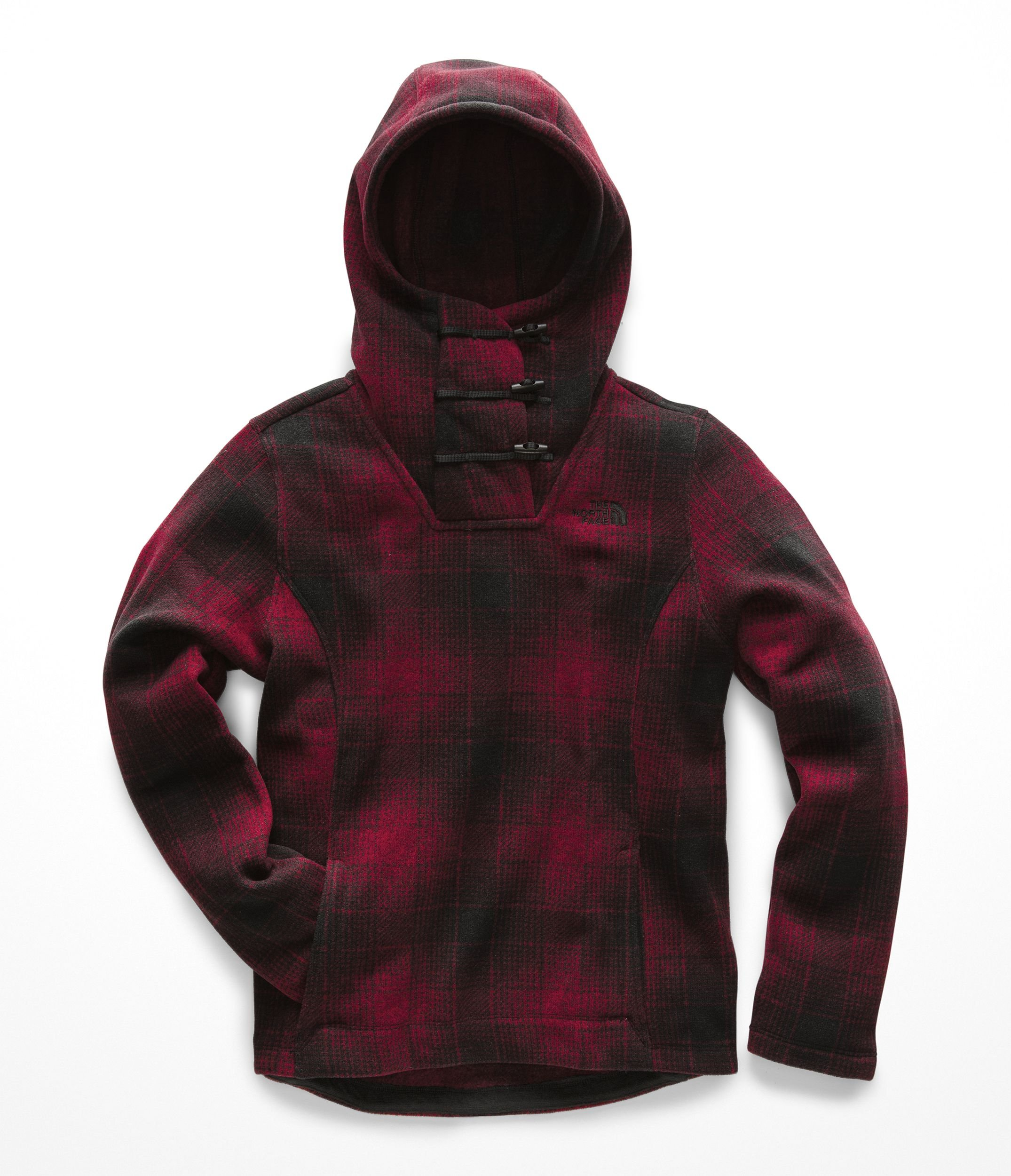 The North Face Womens Crescent Hooded Pullover - Rumba Red Ombre Plaid Small Print - L