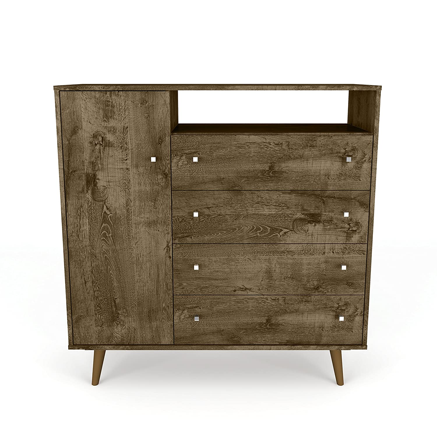 Manhattan Comfort 210bmc9 Liberty Modern Bedroom Armoire And Tv Stand Rustic Brown