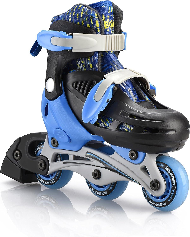 プレミアムローラースケートby新しいBounce、4ホイールInlineスピードスケートのkids|アウトドアスケート初心者の方& Advanced | 4サイズ|ピンクまたはブルー(ブルー, Extra Small )