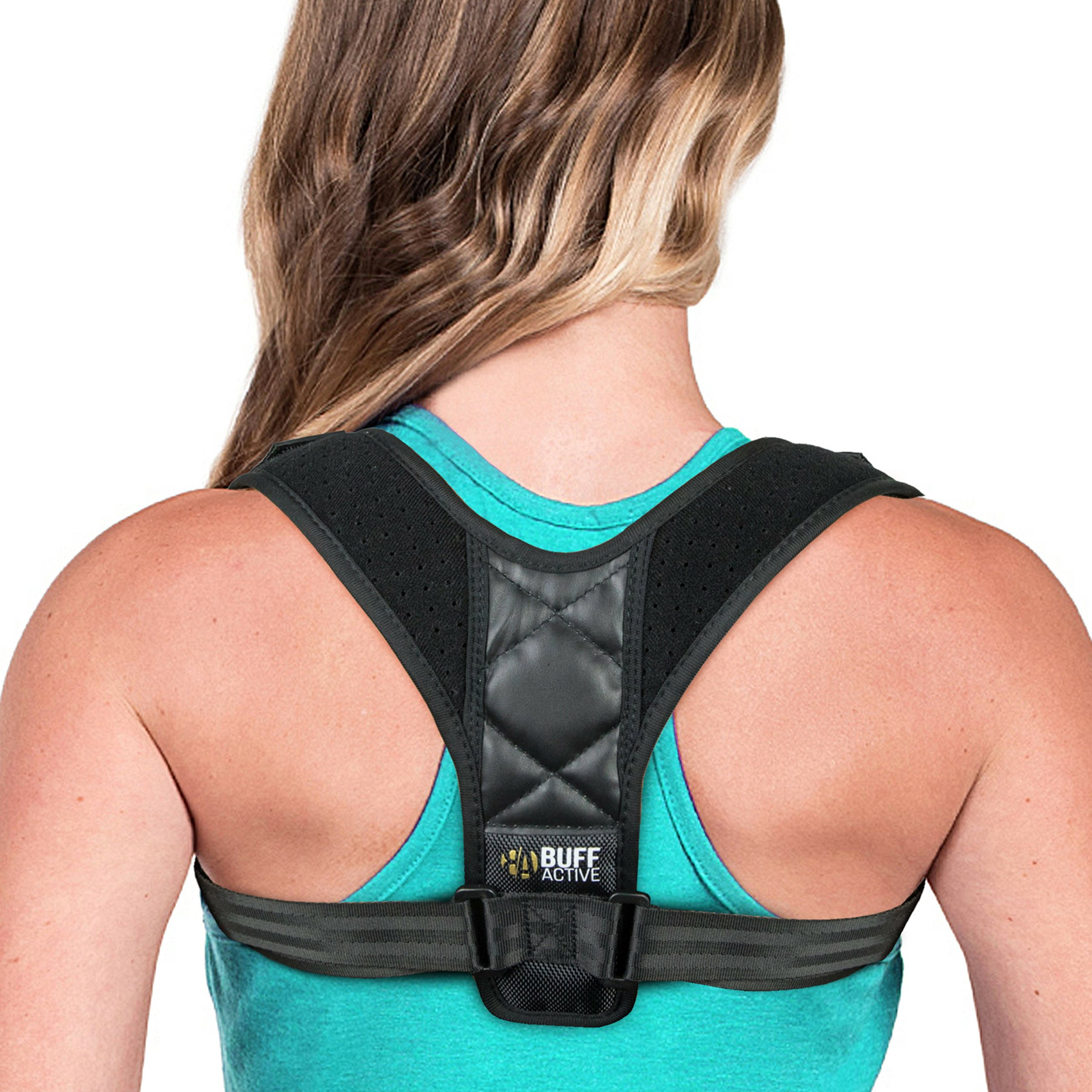Back Posture Corrector Brace for Women & Men- Adjustable and Comfortable Upper Shoulder Thoracic & Clavicle Support- Easy Use- Perfect for Better Upright Posture- Adults Teens Kids- Buff Active