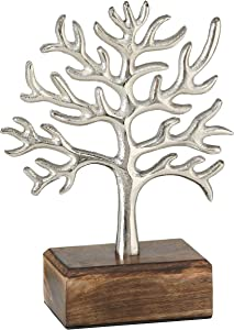 WHW Whole House Worlds Iconic Tree of Life Mini Sculpture, Handcrafted of Silver Aluminum, Gallery Base, Sustainable Mango Wood, 10.5 Inches Tall