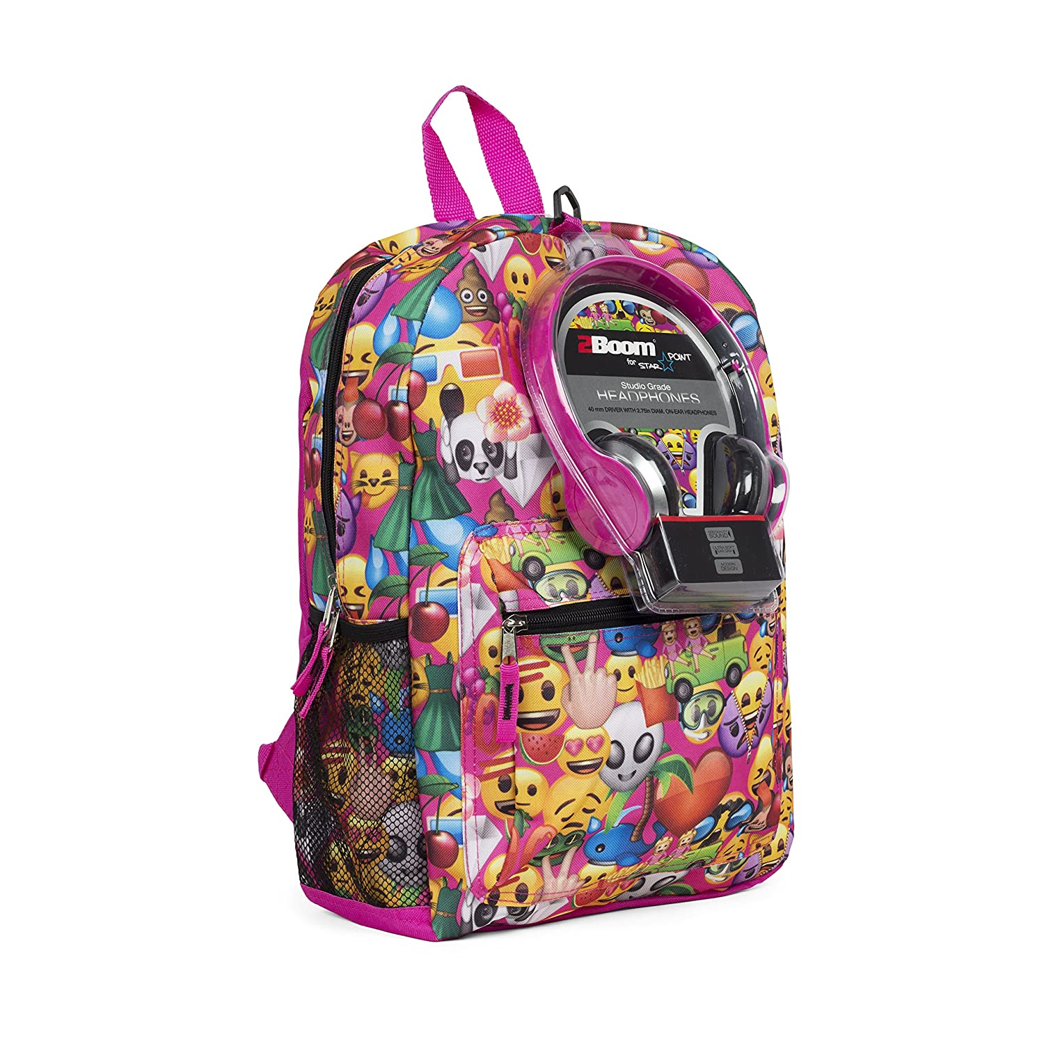 Emoji 17 Inch Smiley Faces Backpack with Headphones KAC9885801