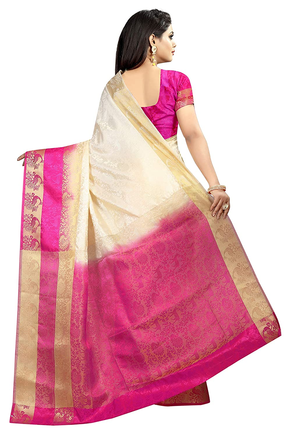 Green Red Color Kanchipuram Tussar Silk Saree With Unstitched Blouse Piece