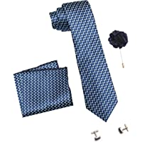 Axlon Men's Necktie, Pocket Square, Lapel Pin Cufflinks Set (Multicolor)