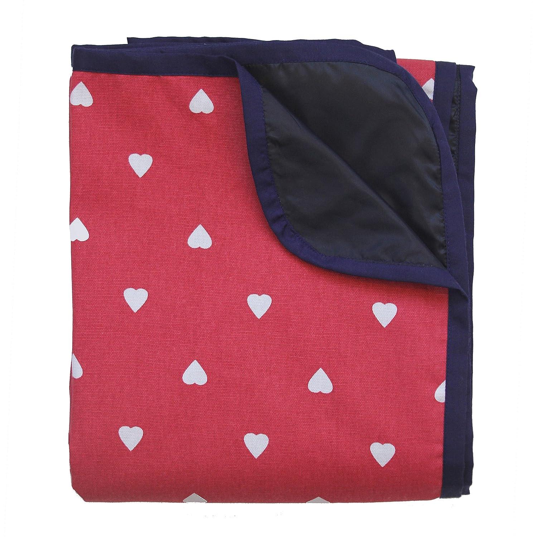 *Extra große Picknickdecke – Rot mit weißen Herzen*