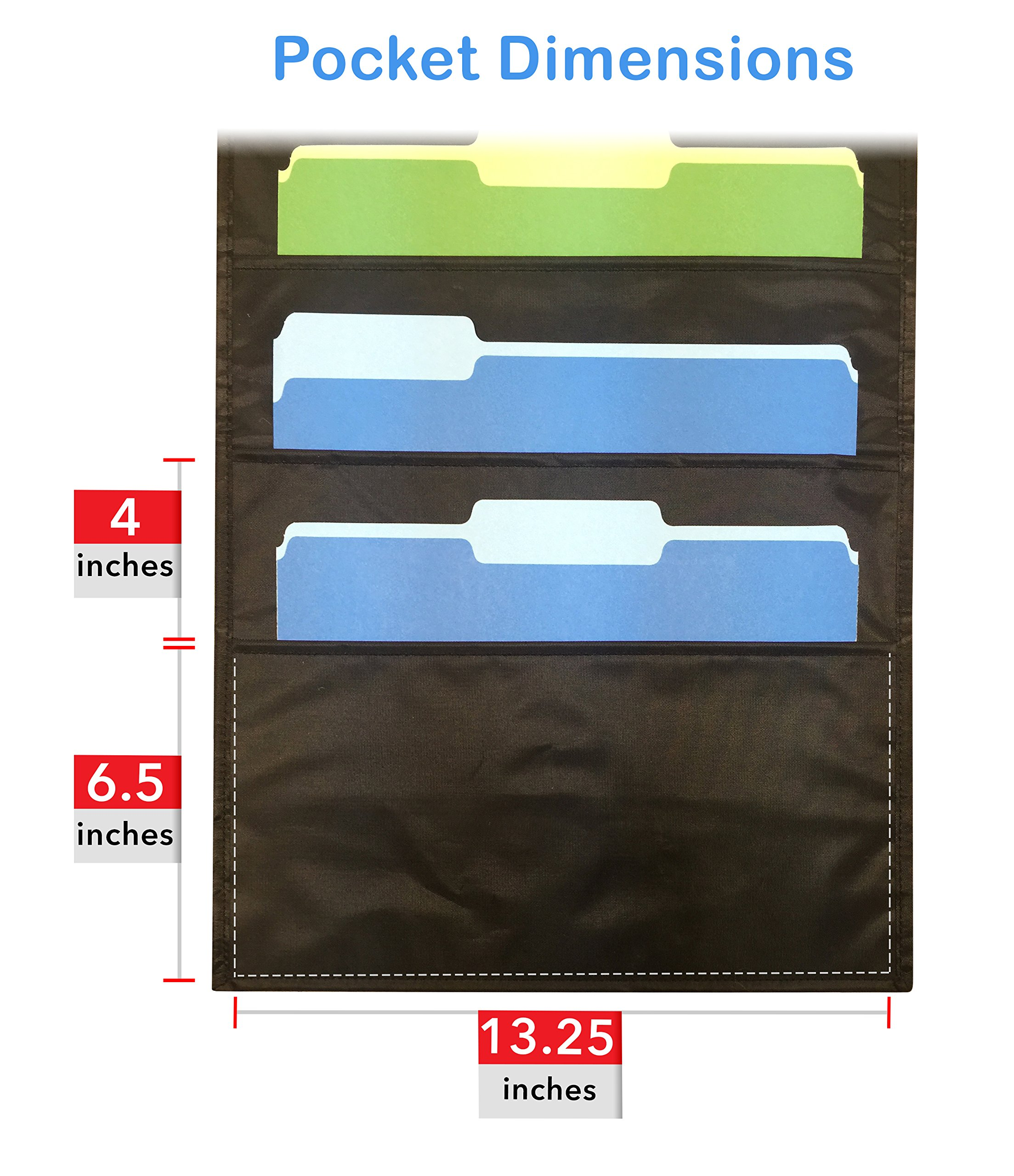 Pack of 2 - Essex Wares Storage Pocket Charts / Ten Pocket Hanging Wall Files - Perfect for Organizing Your Classroom, School, Office and Home (Black) by Essex Wares (Image #2)