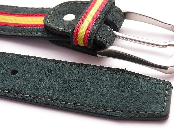 Legado Cinturón Hombre piel de cuero serraje verde tira ancha ESPAÑA hecho en Ubrique CON PULSERA BANDERA ESPAÑA DE REGALO: Amazon.es: Ropa y accesorios