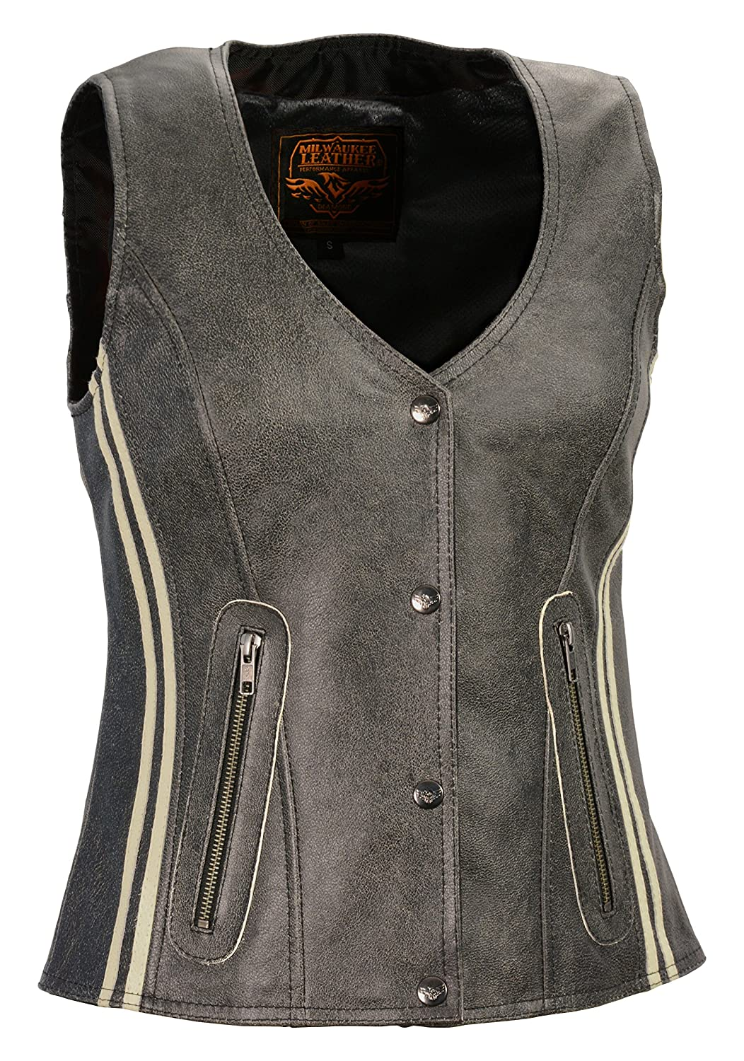 Milwaukee Leather Womens Snap Front Vest with Clear Strip MLL4506-GRY-MD Grey, Medium