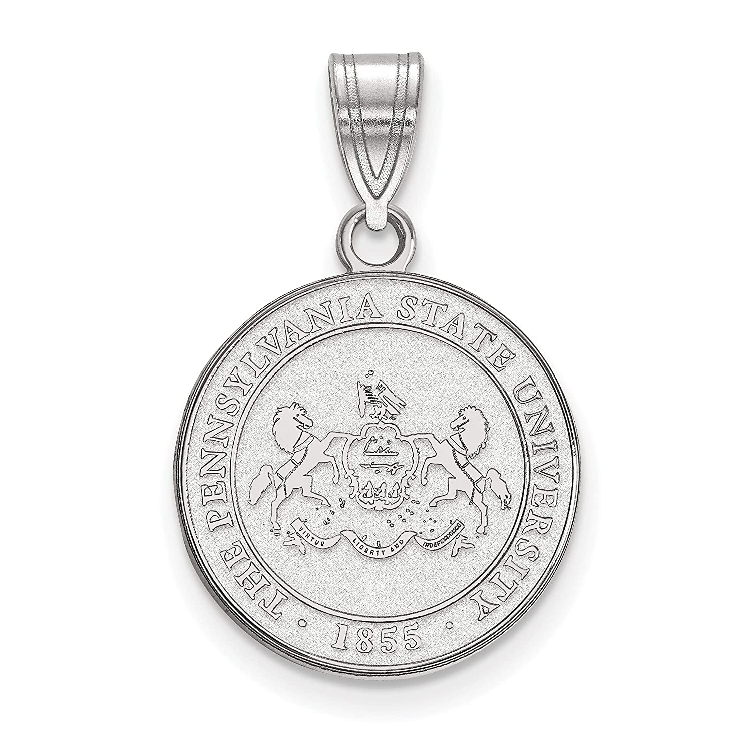 Penn State University Nittany Lions School Crest Pendant in Sterling Silver 16x15mm