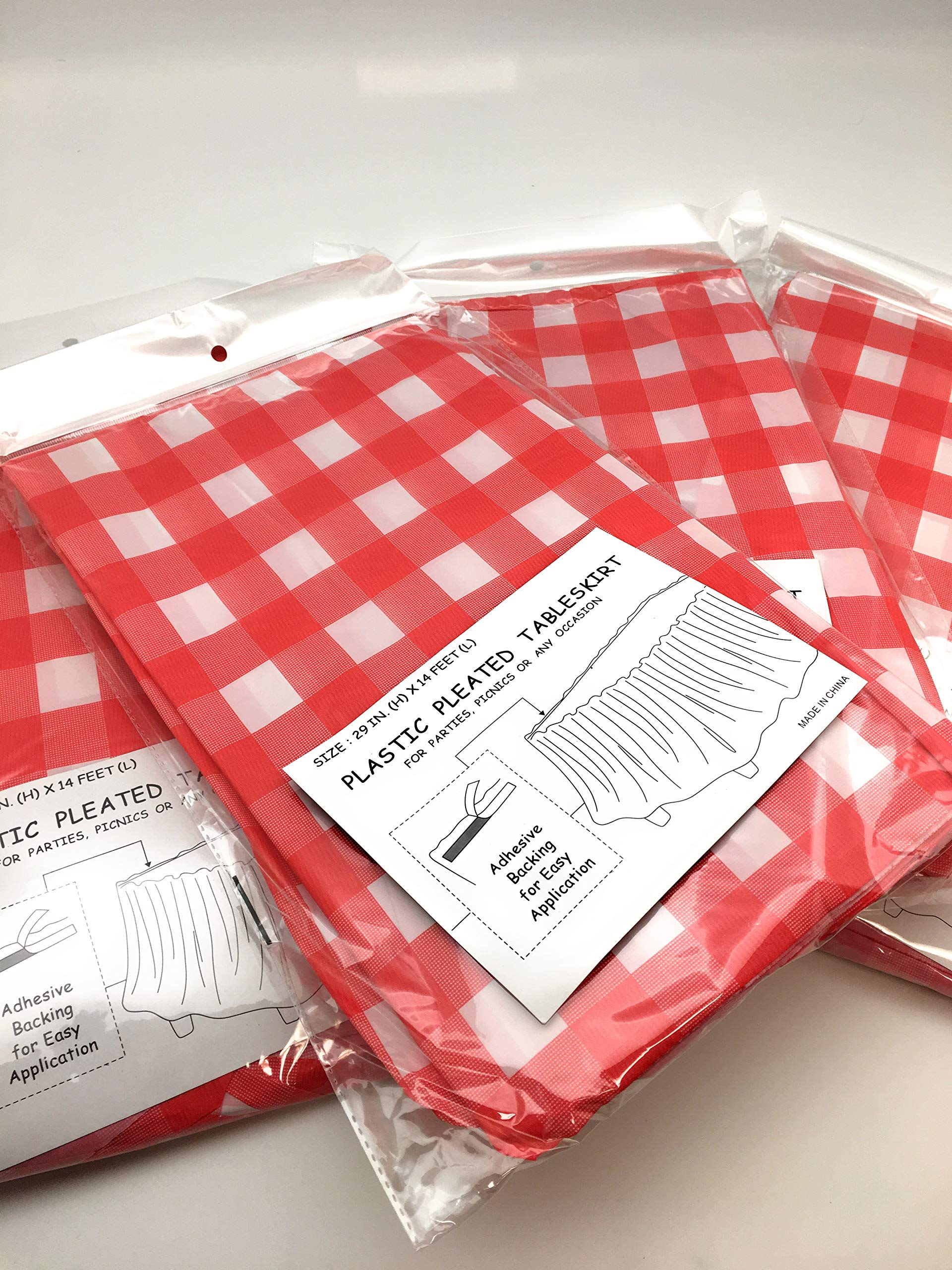 4 pack Red & White Checkered Table Skirt - Picnic Table Skirts