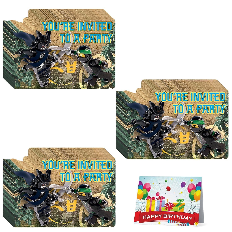 Amazon.com: The Lego Ninjago Movie Deluxe Party Invitations Bundle ...