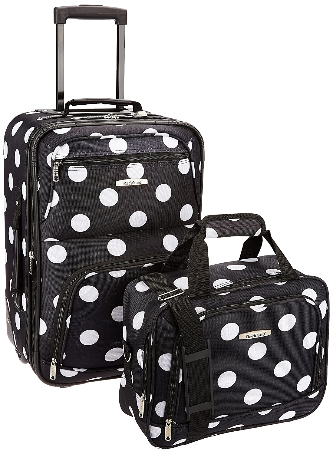 Rockland F102-BLACK DOT 2 Pc Blackdot Luggage Set 19 in. Upright & 12 in. Tote - Polyester B00503FUZW