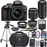 Nikon D3400 DX-format Digital SLR w/ AF-P DX NIKKOR 18-55mm f/3.5-5.6G VR and 70-300mm F/4.5-5.6G DX Lens + 32GB Memory Accessory Bundle – International Version