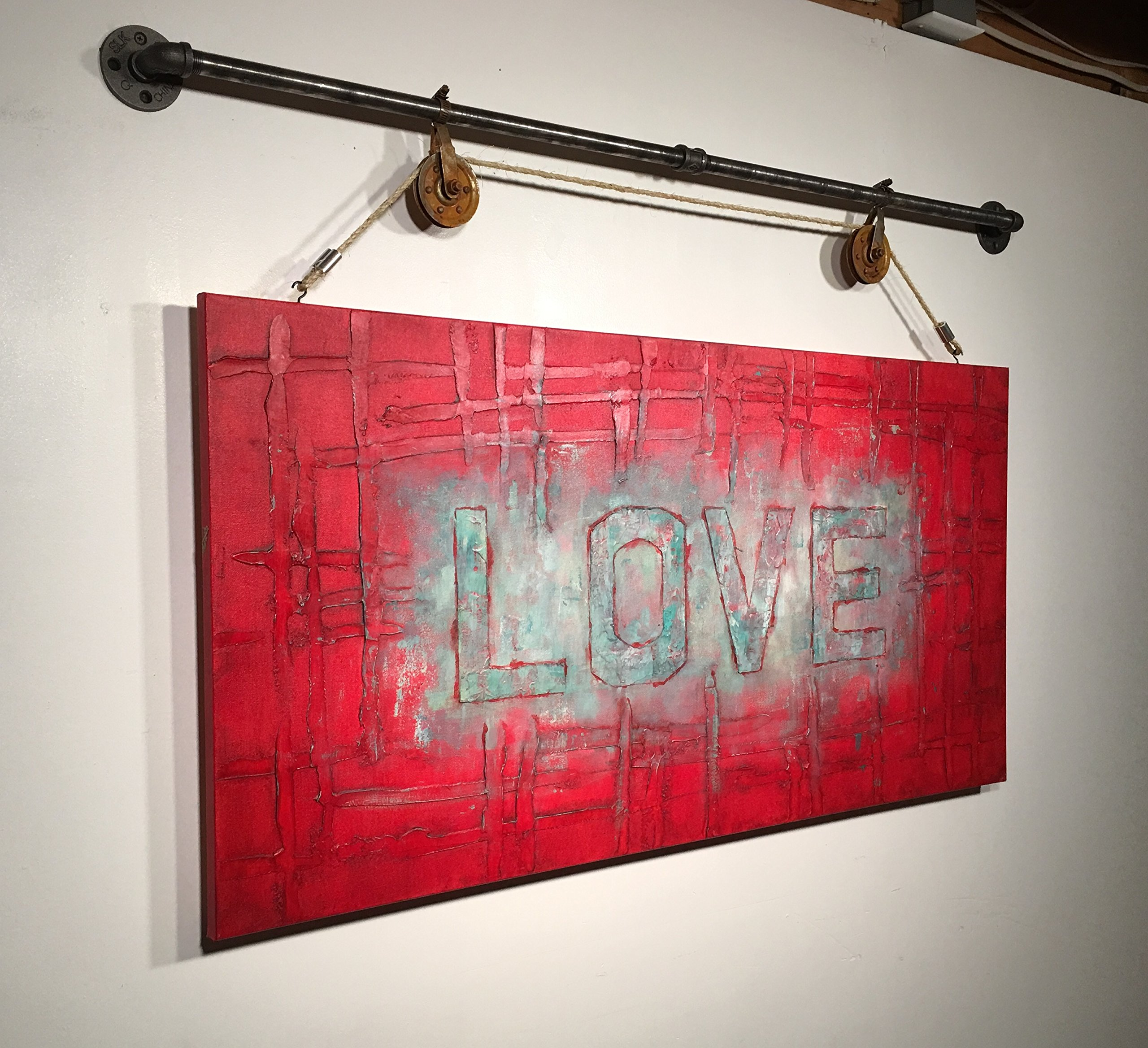 Love abstract original acrylic large painting rustic decor industrial decor black pipe