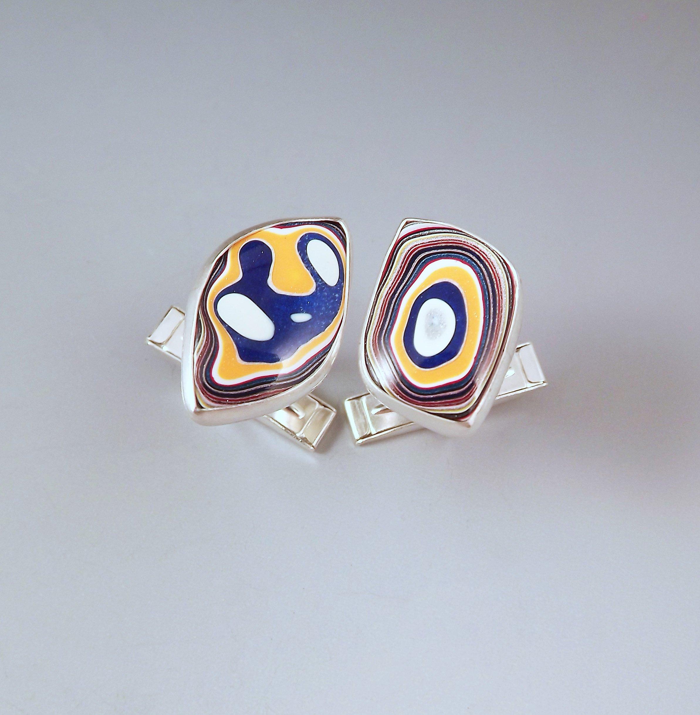 Fordite- Michigan Colors- U of M- Michigan Jewelry- Men's Jewelry- Sterling Silver Fordite Cufflinks by RedPaw