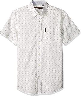 Ben Sherman Men/'s Chequerboard Geo SS Shirt White Ben Sherman Shirt