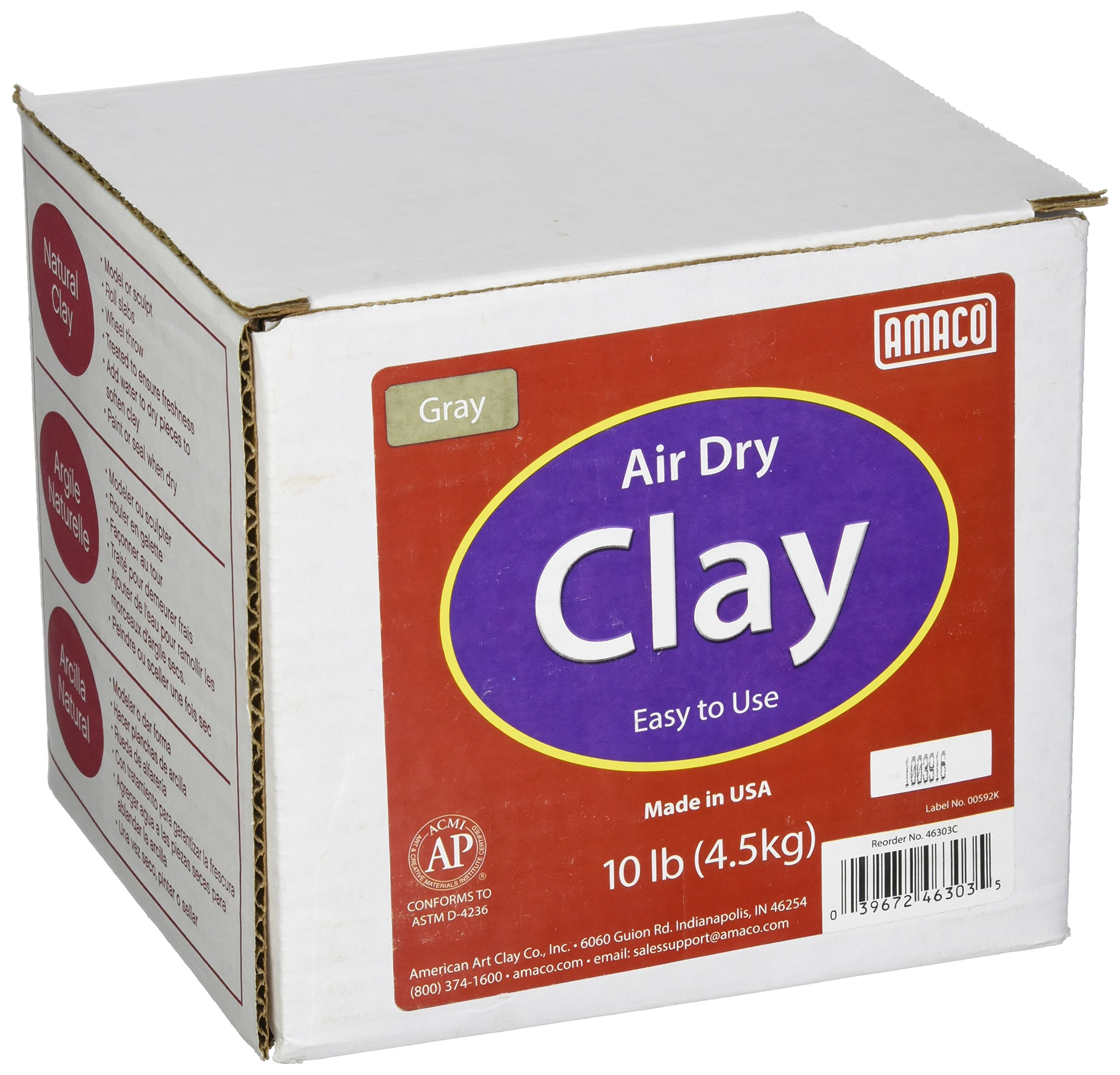 AMACO 4630-3C Air Dry Modeling Clay, 10-Pound, Gray by AMACO