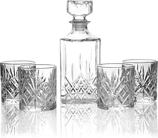 1L Decanter Set Whisky Wine /& 4 Glasses Tumblers Drinks 5Pcs Jar Set
