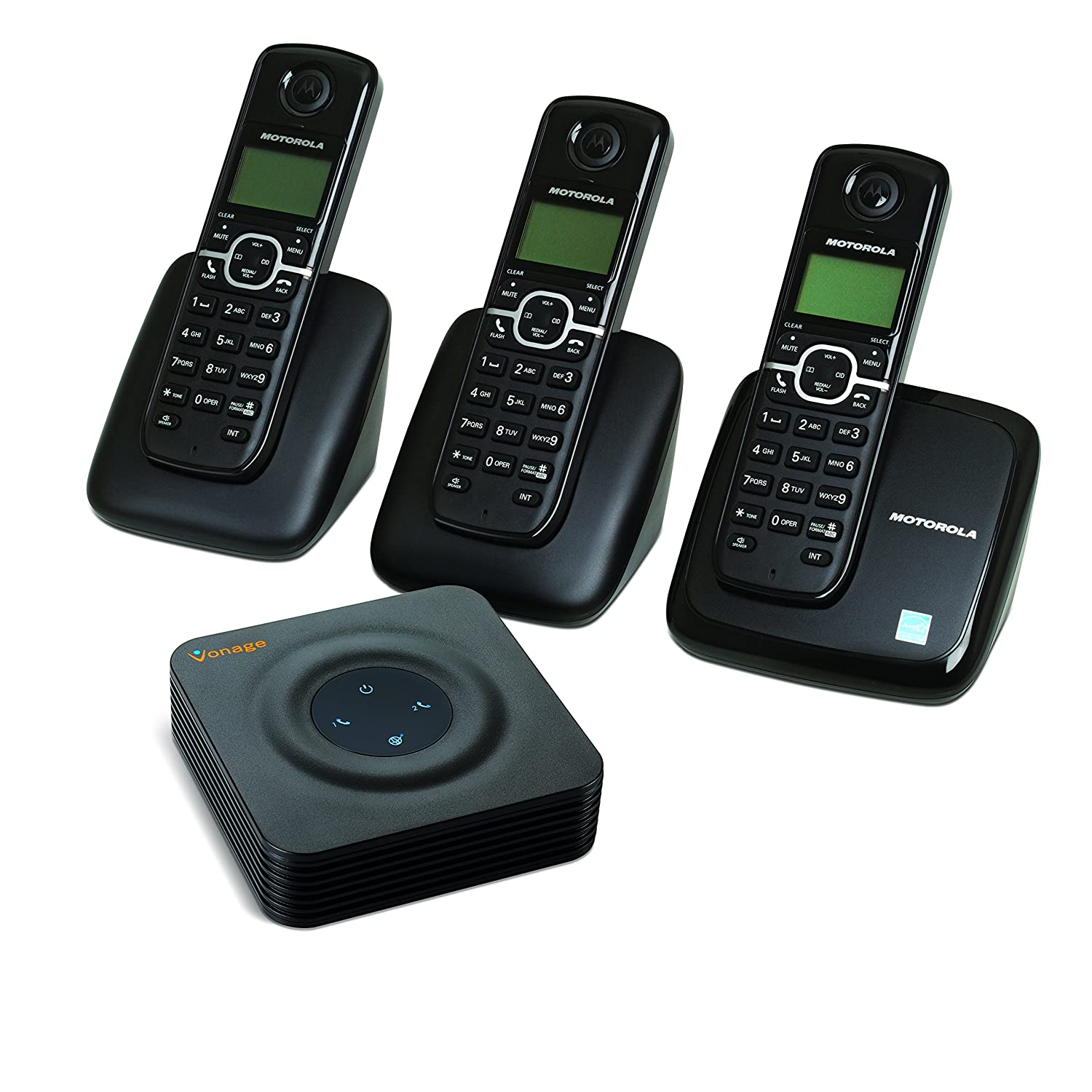 motorola 3 landline cordless telephone portable wireless mobil home office phone 829380848855 ebay. Black Bedroom Furniture Sets. Home Design Ideas