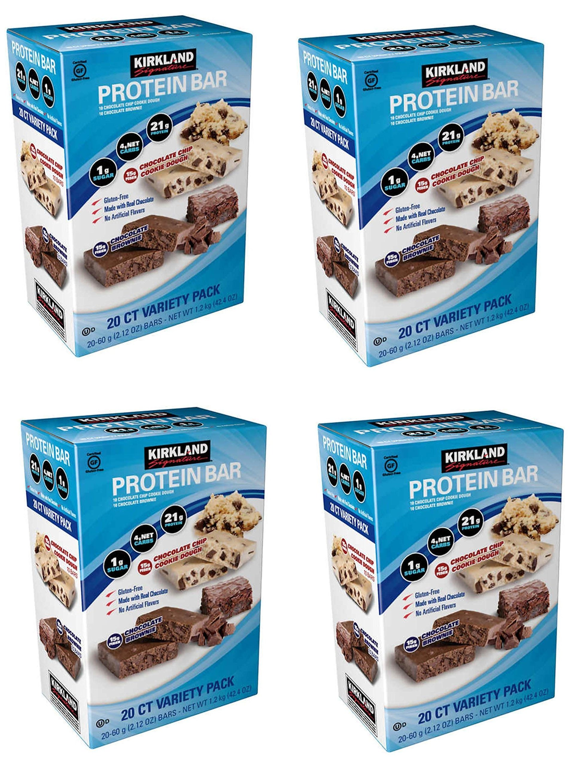 Kirkland Signature Variety Protein Bars 20 count, 21G Of Protein, 4G Of Carbs and 1G Of Sugar, Chocolate Brownie and Chocolate Chip Cookie Dough, 4 Boxes
