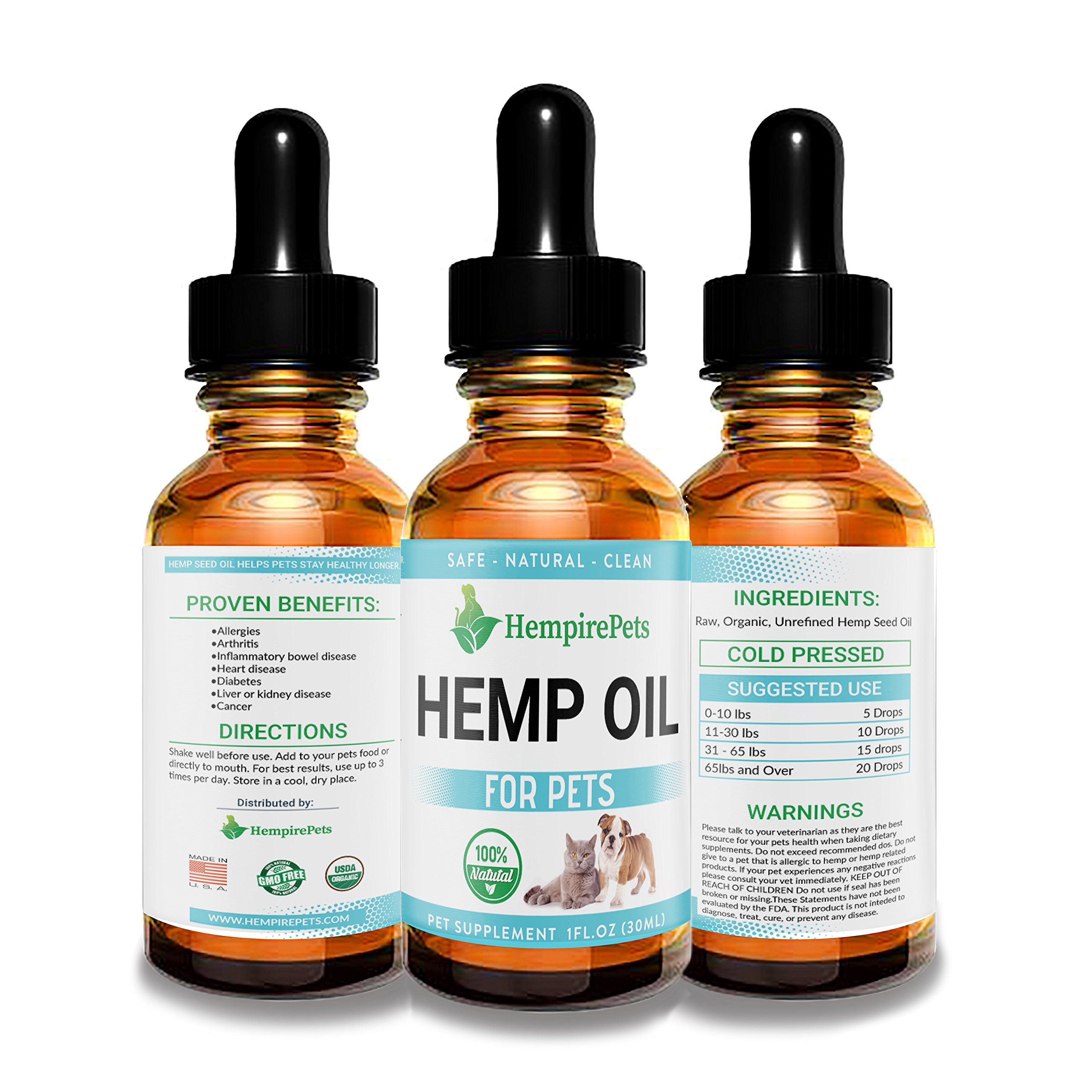 Hemp Oil for Dogs and Cats – Organic Natural Calming Drops - Anxiety Relief Medication - Hip and Joint Supplement Pain Relief Glaucoma, Seizure, and Cancer Treatment for Pets - Omega 3 & 6