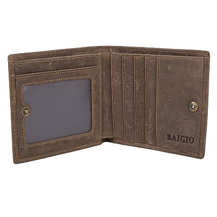 BAIGIO Portafoglio di vera pelle da uomo porta monete e carte di credito 464ce5e033b
