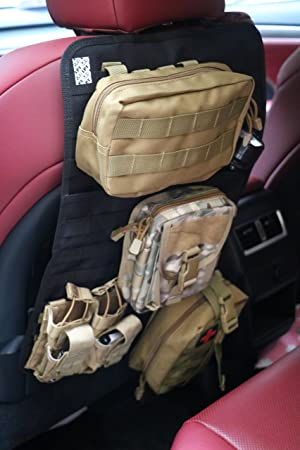 Tactical Expedition Car Vehicle Seat Back MOLLE Organizer With Bottle//Flashlight//Recycle Pouch Airsoft Paintball Temporary Armed Depot Universal Seat Storage Cover