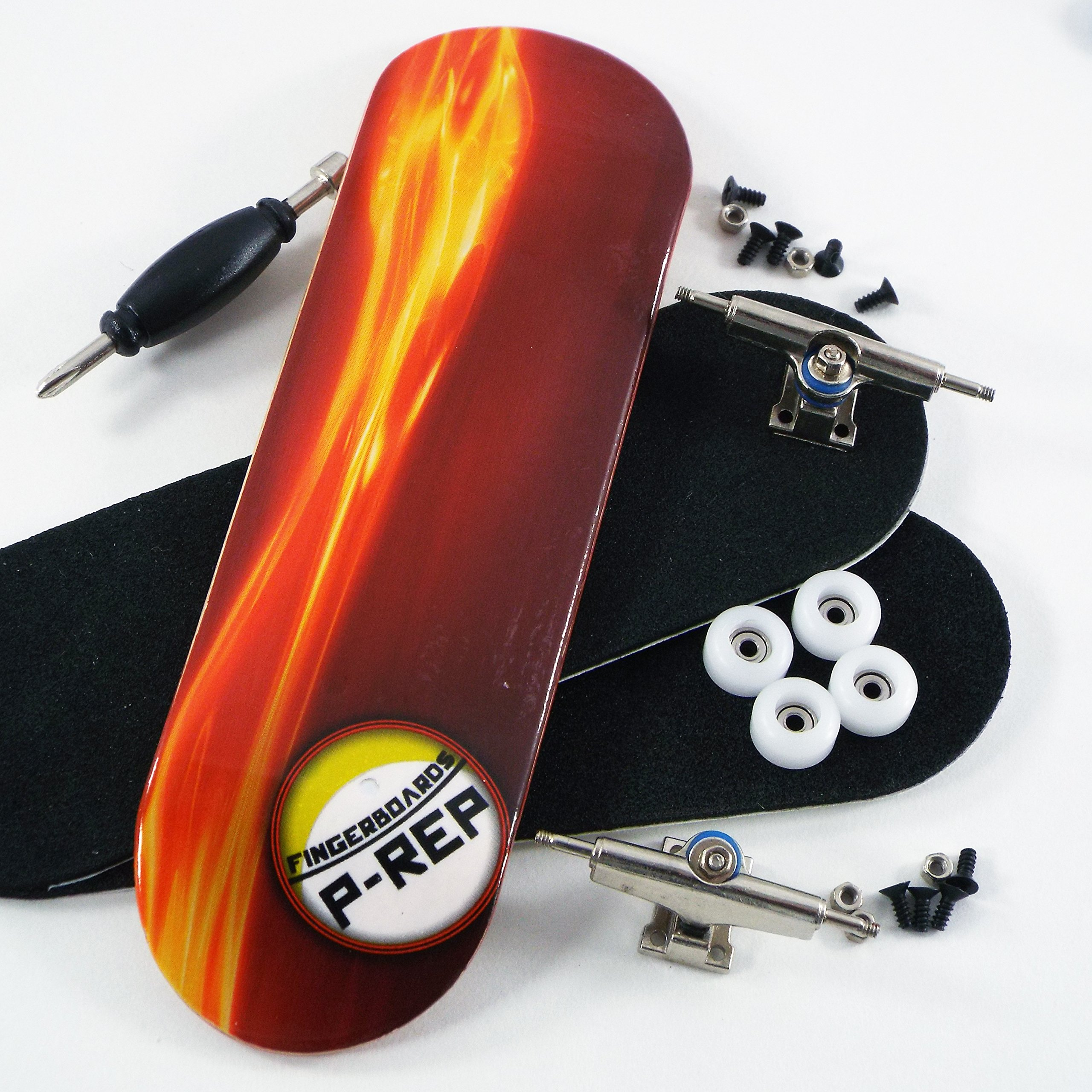 P-Rep Fired Up 30mm Graphic Complete Wooden Fingerboard w CNC Lathed Bearing Wheels by Peoples Republic