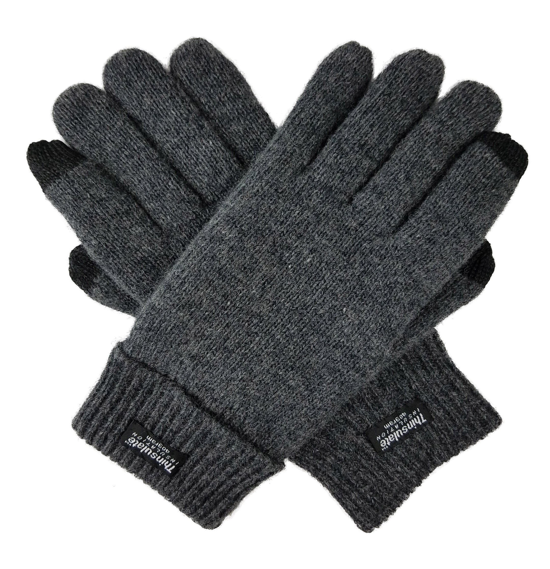 Bruceriver Men's Pure Wool Knitted Touchscreen Gloves with Thinsulate Lining Size L/XL (Anthra Touchsreen)
