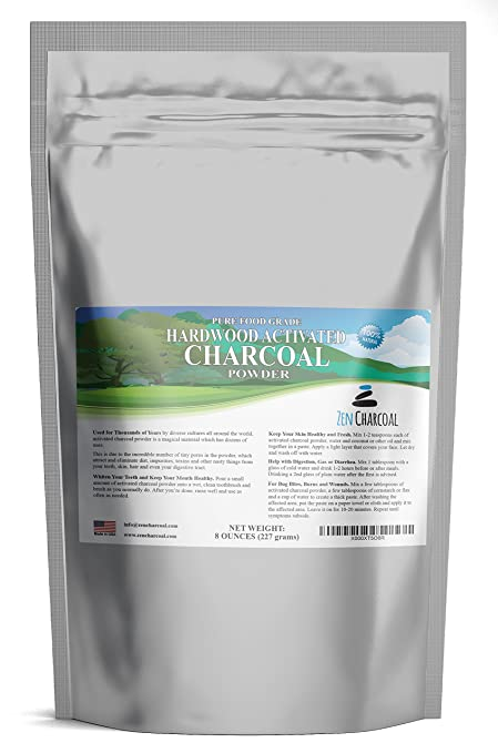 Hardwood Activated Charcoal Powder 100 Percent from USA Trees 8 oz. All Natural. Whitens Teeth, Rejuvenates Skin and Hair, Detoxifies, Helps Digestion, Treats Poisoning, Bug Bites, Wounds. FREE scoop. best teeth whitening product