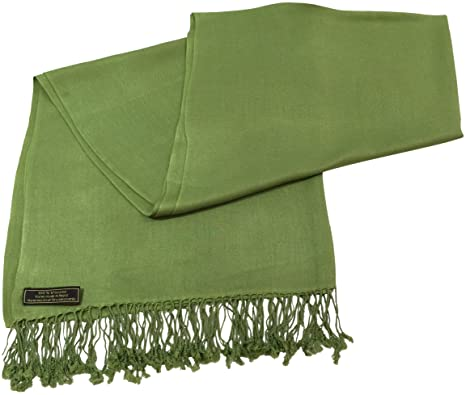 4f26da822 Olive Green Solid Color Nepalese Shawl Pashmina Scarf Shawls Pashminas  Wraps NEW: Amazon.in: Clothing & Accessories