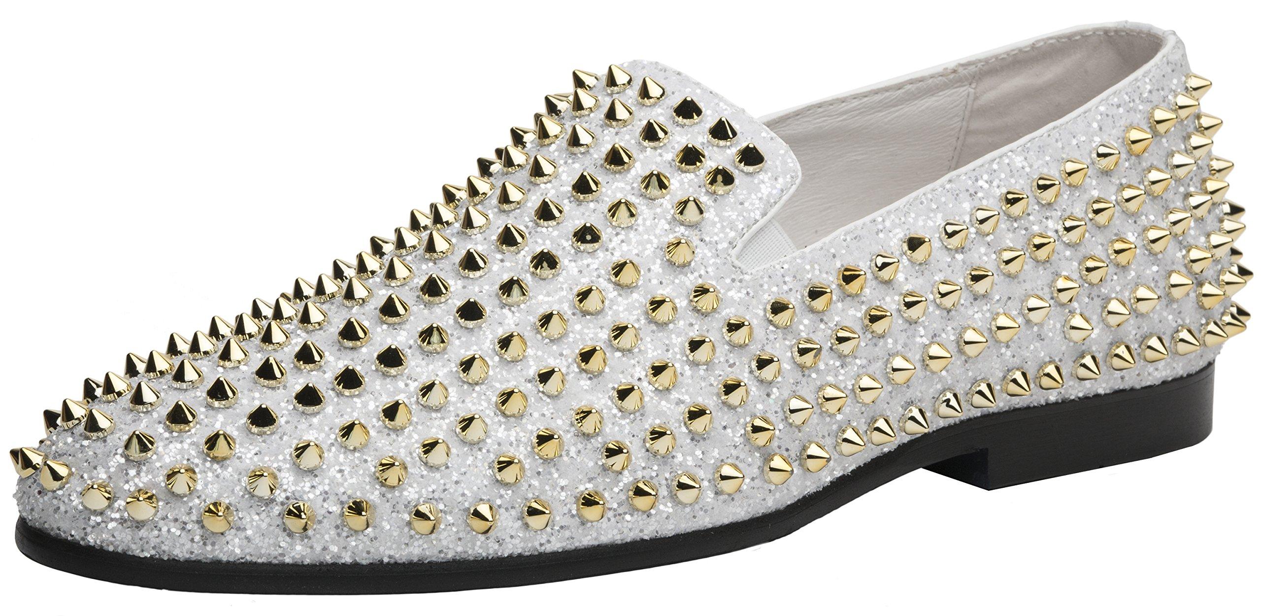 JUMP NEWYORK Men's Luxor Smoking Slipper Dress Shoe White Gold 12 D US