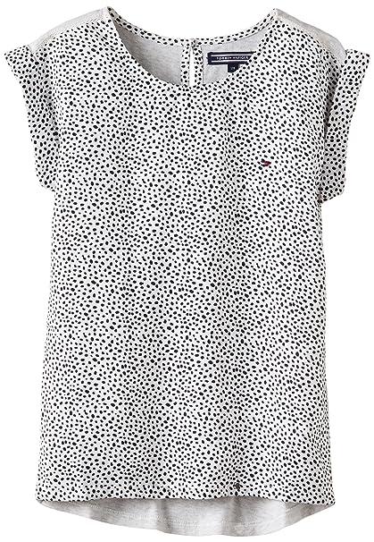 Tommy Hilfiger Vicky Dot Top S/S - Camisa para niñas, Color Grau -