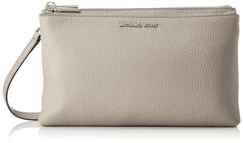 58ddb94eff39 Amazon.com  Michael Kors Double Zip Leather Crossbody in Pearl Grey   Clothing