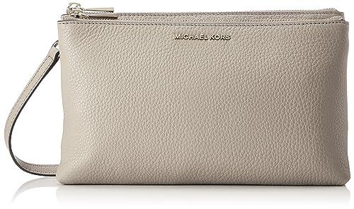c32e804ed97e Michael Kors Womens Adele Dbl Zip Crossbody Cross-Body Bag Grey (Pearl Grey)