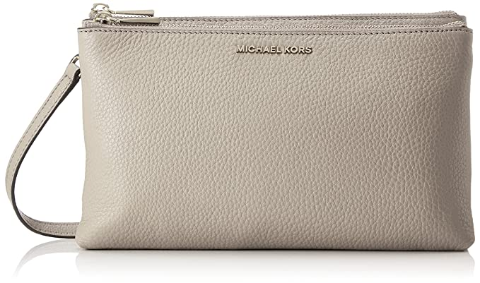 d7014a991a1a Amazon.com: Michael Kors Double Zip Leather Crossbody in Pearl Grey ...