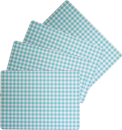 Amazon Com Benson Mills Cork Placemats Calvin Gingham Check Placemat Turquoise Aqua Blue 12 X 16 Rectangular Set Of 4 Home Kitchen