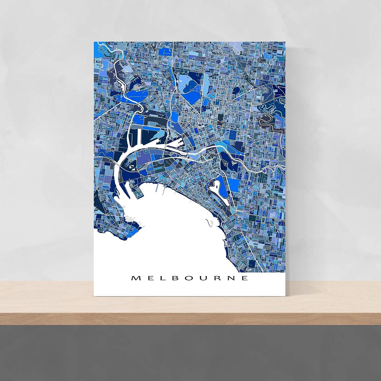 Australia Map Art.Amazon Com Melbourne Map Print Australia City Art Poster Blue