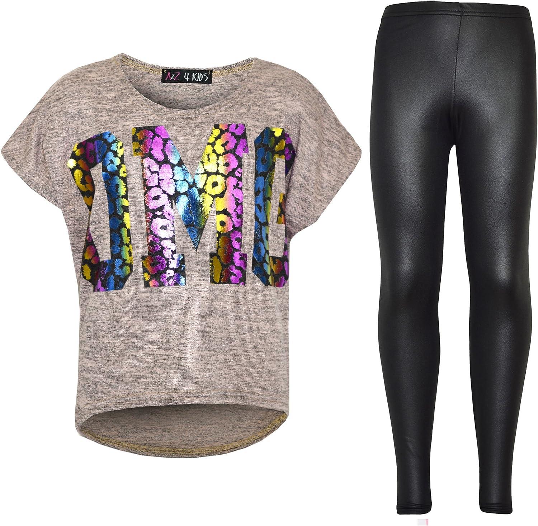 A2Z 4 Kids/® Bambino OMG Stampare T Shirt Top /& Effetto Bagnato Leopardo Legging Abito Set Et/à 7 8 9 10 11 12 13 Anni
