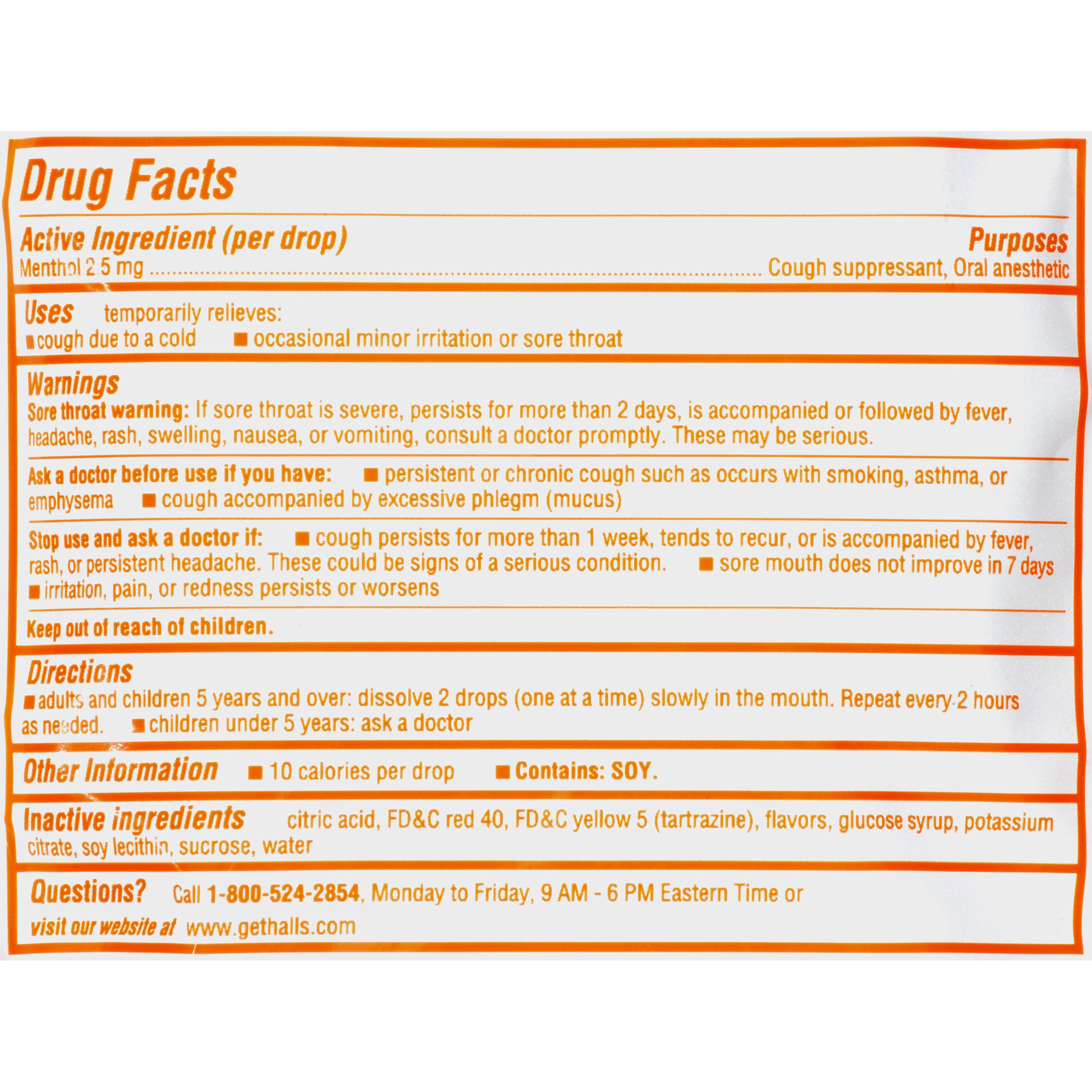 Halls Orange Cough Drops - with Menthol - 30 Drops (1 bag of 30 drops) by Halls (Image #3)