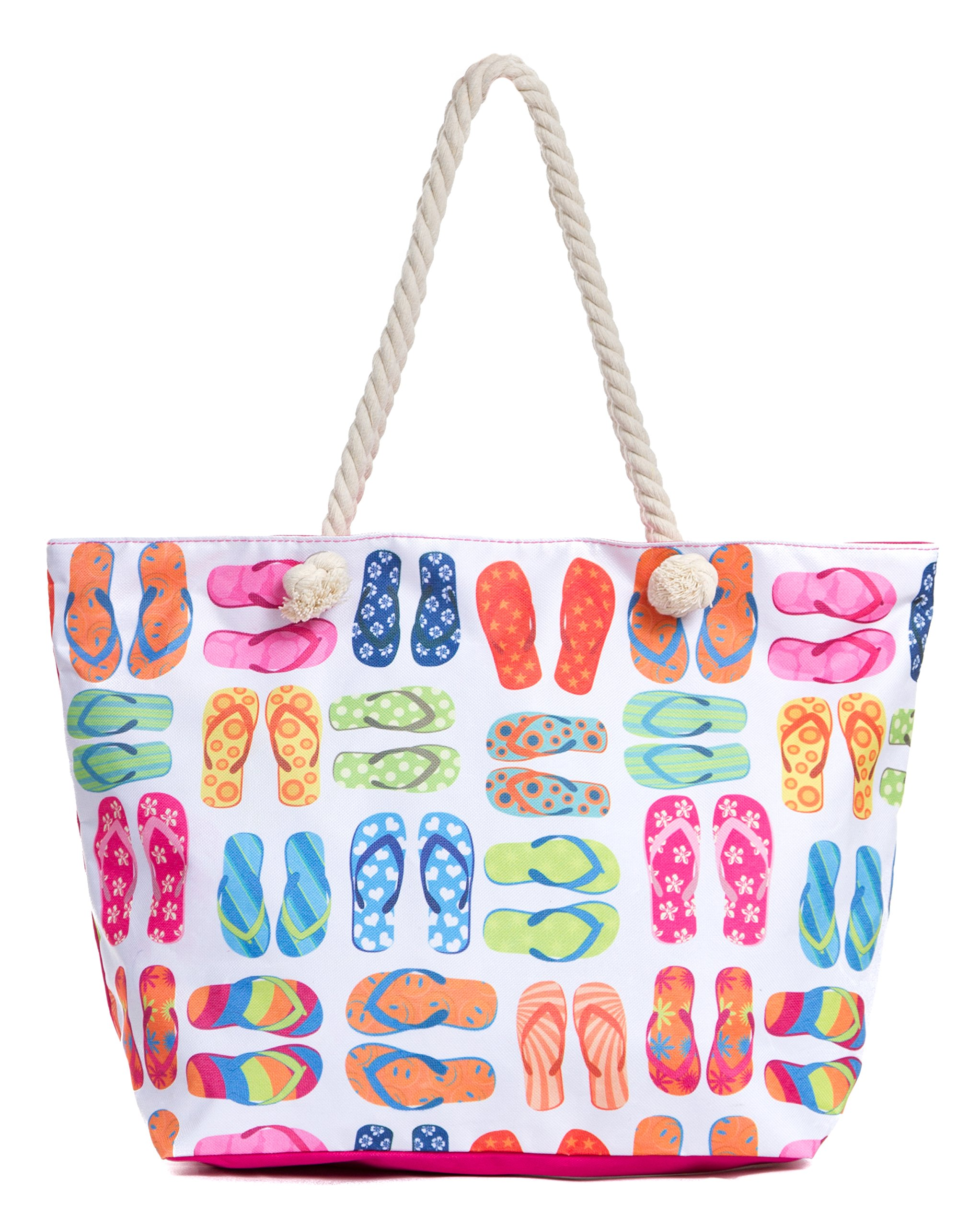 Leisureland Large Beach Tote Bag, Top Zipper Boat Bag (Flip Flops)