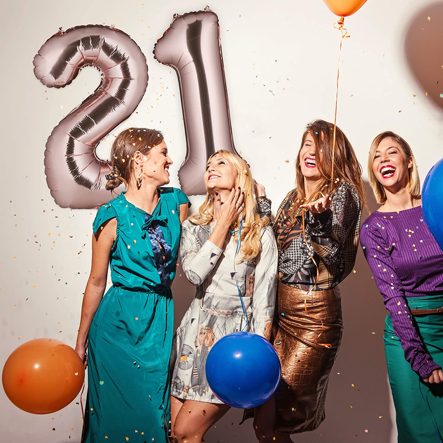 Jumbo 21st Birthday To Hang 85-100 cm One Size Relaxdays Foil 21 XXL Gold Number Balloons