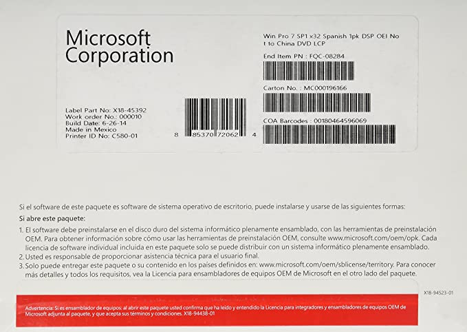 Microsoft Windows 7 Professional Sp1 - Licencia Y Soporte OEM, Español, 1 PC,