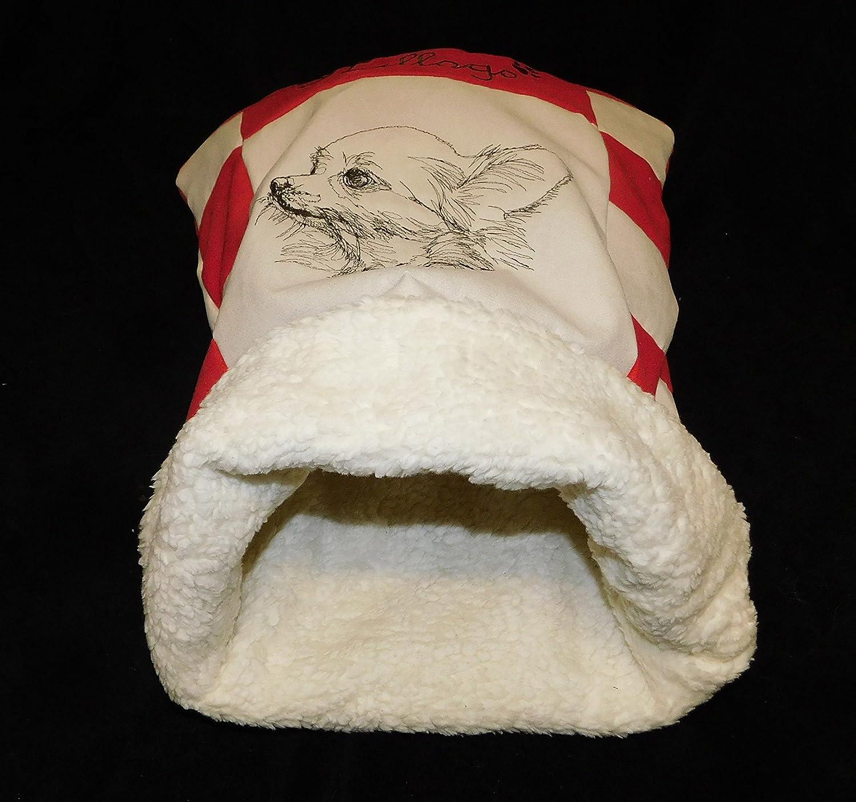 LunaChild Chien Cuddly Cave Chihuahua 4 rouge blanc crème foncé Dog Bed Name Snuggle Taille du sac S M ou L disponible en 14 couleurs