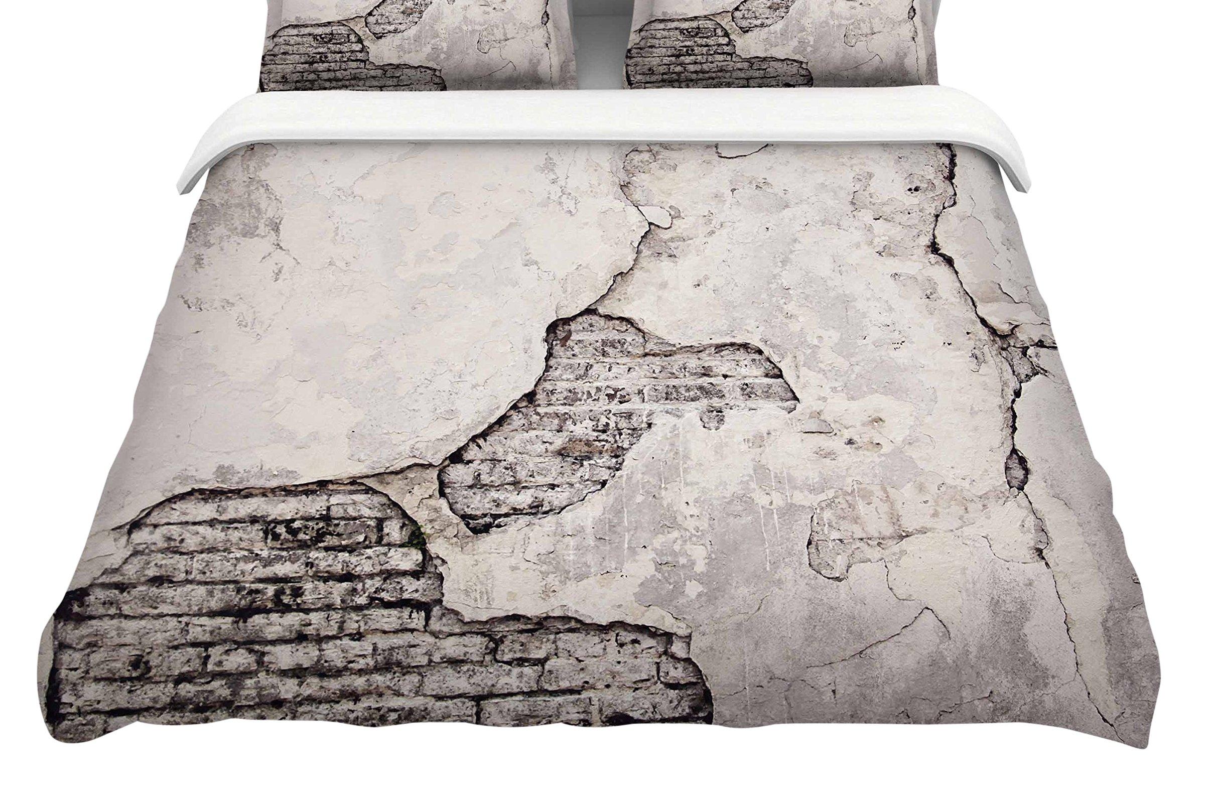Kess InHouse Sylvia Cook ''Crumbling Wall'' Brown Gray Cotton King Duvet Cover, 104 x 88''