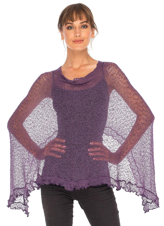 SHU-SHI Womens Sheer Poncho Shrug Lightweight Knit with Ruffle One Size Fits Most