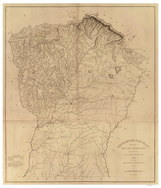 Pendleton District South Carolina map c1820 18x24